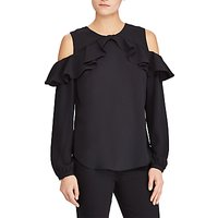 Lauren Ralph Lauren Kinsun Cold Shoulder Ruffle Top, Polo Black