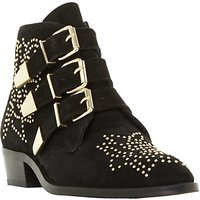 Dune Padilla Buckle Ankle Boots, Black Suede
