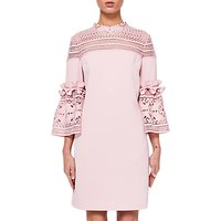 Ted Baker Lucila Lace Bell Sleeved Tunic Dress, Dusty Pink