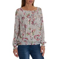 Betty Barclay Floral Print Blouse, Grey/Pink