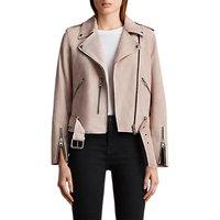 AllSaints Suede Balfern Biker Jacket, Pale Pink