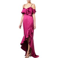Adrianna Papell Ruffled Satin Dress, Red Plum