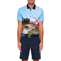Ted Baker Golf Axis Mini Golf Scene Polo Shirt, Blue