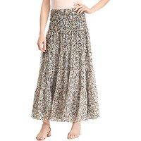 Lauren Ralph Lauren Moriah Floral Tiered Ruffle Maxi Skirt, Pink/Multi