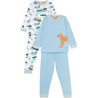 John Lewis & Partners Boys' Jungle Boats Pyjamas, Pack of 2, White/Blue
