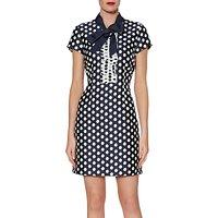 Gina Bacconi Joy Spotted Jacquard Dress, Navy/White