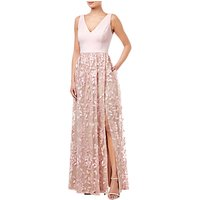 Adrianna Papell Embellished Tulle Dress, Satin Blush
