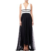 Adrianna Papell Lace Long Dress, Black/White