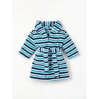 John Lewis & Partners Baby Stripe Dressing Gown, Blue