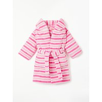 John Lewis & Partners Baby Stripe Dressing Gown, Pink