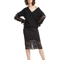 French Connection Delos Lucky Layer Pencil Skirt, Black