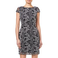 Adrianna Papell Corded Lace Dress, Black/White