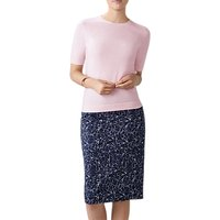 Pure Collection Floral Print Pencil Skirt, Navy