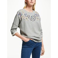 Collection WEEKEND by John Lewis Floral Embroidered Drop Sleeve Sweat Top, Grey Marl