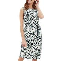 Jaeger Zebra Print Jersey Dress, Aqua/Multi