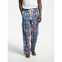 John Lewis Amara Cotton Poplin Check Pyjama Bottoms, Blue/Red