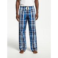 John Lewis Shaka Cotton Check Pyjama Bottoms, Navy/Blue