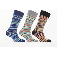 Paul Smith Signature Stripe Socks Gift Set, Pack of 3, One Size, Blue/Grey/Black