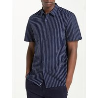 Kin Reverse Dobby Pinstripe Short Sleeve Shirt, Navy