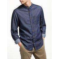 John Lewis & Partners Grandad Collar Denim Shirt, Indigo