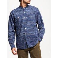 JOHN LEWIS & Co. Textured Slub Stripe Grandad Shirt, Blue
