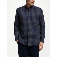 JOHN LEWIS & Co. Ombre Weave Check Grandad Collar Shirt, Indigo