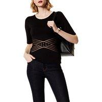 Karen Millen Cross Mesh T-Shirt, Black
