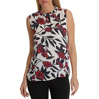 Betty Barclay Sleeveless Floral Print Blouse, Cream/pink
