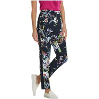 Betty Barclay Floral Print Trousers, Dark Blue/Pink