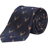 Chester by Chester Barrie Pheasant Silk Tie, Navy
