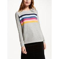 Collection WEEKEND by John Lewis Rainbow Stripe Drop Sleeve Jumper, Grey/Multi