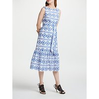 Boden Broderie Dress, White China Blue Embroidery