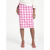 Boden Richmond Checked Pencil Skirt, Pink/White