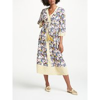 Boden Carlotta Kimono Dress, Pearl Wild Bloom Geo