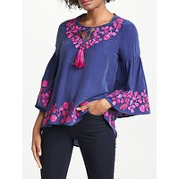 Boden Corrina Silk Top, Mariner Blue