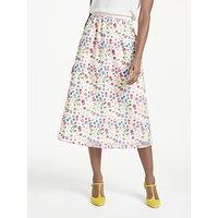 Boden Marjorie Organza Floral Print Skirt, Red Pop
