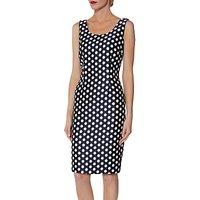 Gina Bacconi Margot Jacquard Spot Dress, Navy/White