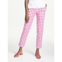 Boden Richmond 7/8 Check Print Trousers, Pink/White