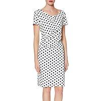 Gina Bacconi Barbara Spotted Crepe Dress, Black/White