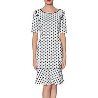 Gina Bacconi Gladys Spotted Scuba Dress, Black/White