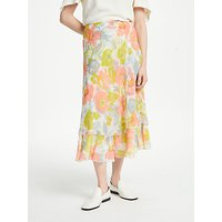Finery Balin Tiered Chiffon Skirt, Impressionist Flowers