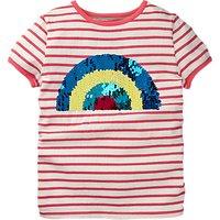 Mini Boden Girls Sequin Rainbow T-Shirt, Pink