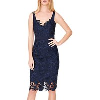 Damsel in a Dress Abella Boned Lace Midi Dress, Navy/Blue