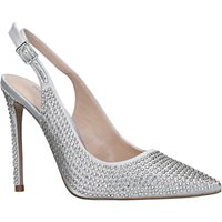 Carvela Ariana Slingback Crystal Stiletto Heel Court Shoes, Grey Satin