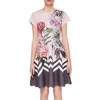 Ted Baker Haiilie Palace Gardens Scalloped Skater Dress, Dusky Pink