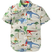 Mini Boden Boys' Fun Dinosaur Short Sleeve Shirt, Grey