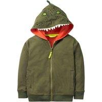Mini Boden Boys' Novelty Dinosaur Zip Through Hoodie, Green