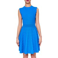 Ted Baker Kamylia Scallop Edge Knitted Skater Dress, Bright Blue