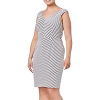Adrianna Papell Plus Size Striped Dress, Black/Ivory