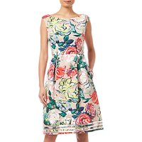 Adrianna Papell Petite Stained Glass Floral Dress, Khaki/Multi